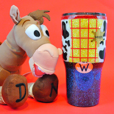 Cowboy Sheriff /// Stainless Steel Glitter Coated Tumbler