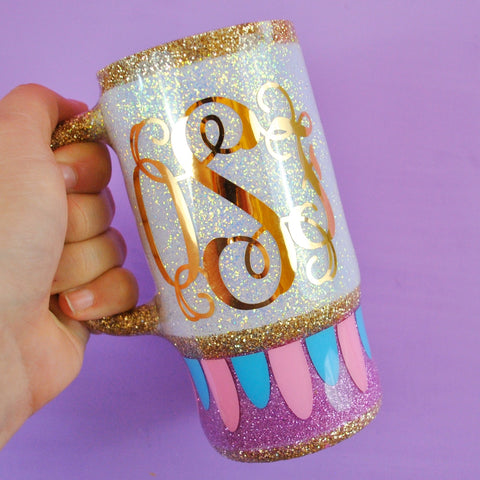 Enchanted Teacup Monogram /// Stainless Steel Travel Mug or Skinny Tumbler