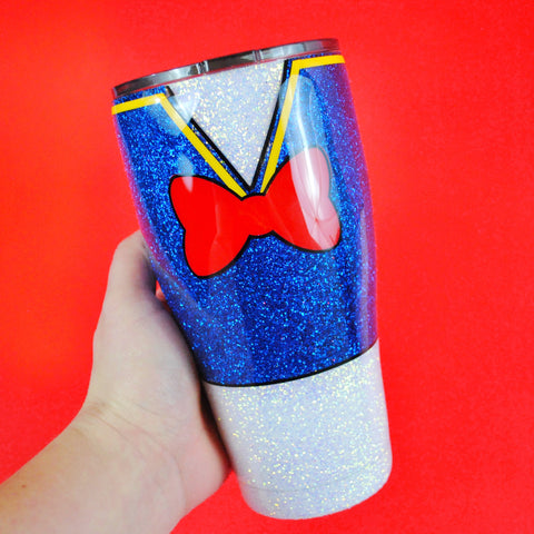 Grouchy Duck /// Stainless Steel Glitter Tumbler