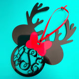 Reindeer Mouse Monogram Christmas Ornament