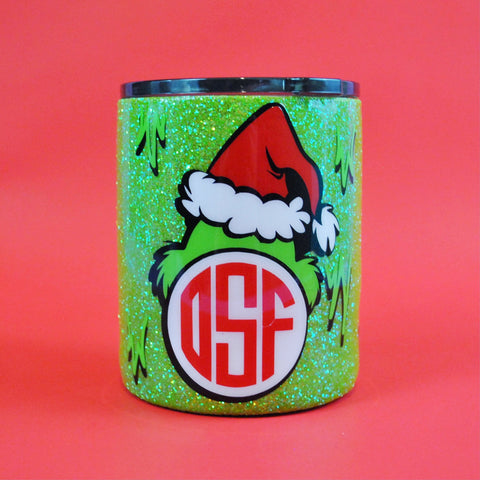 Christmas Grouch  /// Stainless Steel Glitter Coated Tumbler