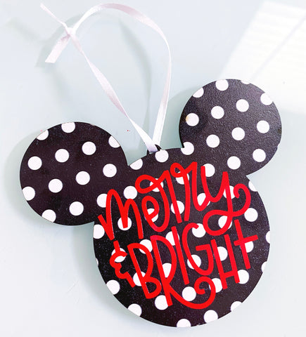 Merry and Bright Polka Dot Mouse Ornament