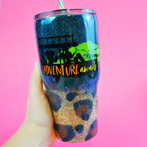 Adventure Awaits /// Stainless Steel Glitter Coated Tumbler