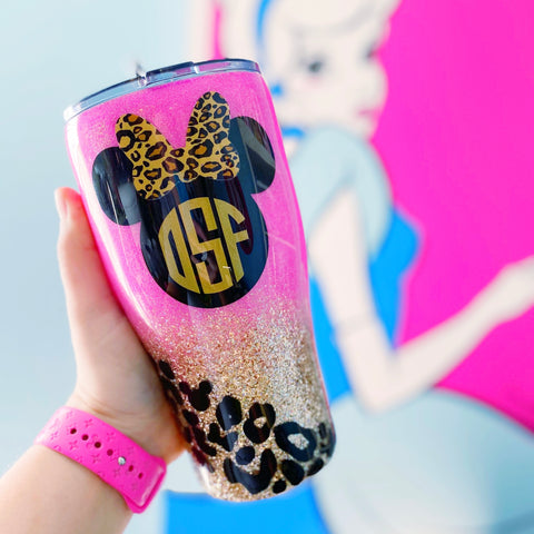 Leopard Mouse Monogram Stainless Steel Tumbler