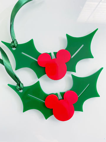 Holly Mouse Christmas Ornament