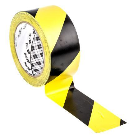 3M 50.8mm X 32.9mtr 766 Pvc Tape Yellow/Black Diagonal Stripe