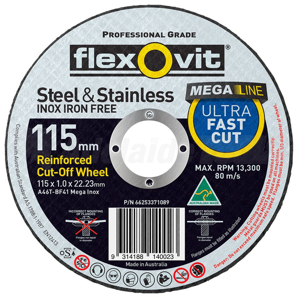 Flexovit 115mm X 1 X 22 Ultra Thin Cut Off Wheels