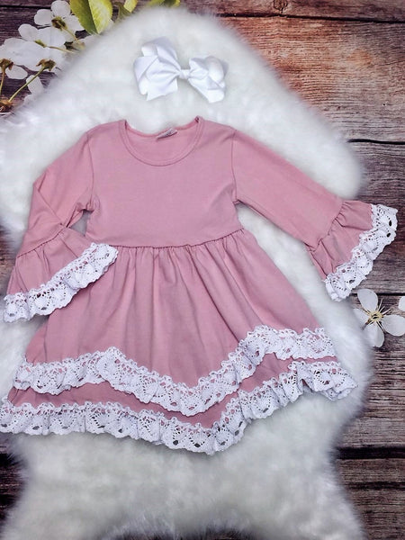 Blush Pink Bell Sleeved Dress Trimmed with White Crochet Lace & Bow - My 4 Princesses LLC