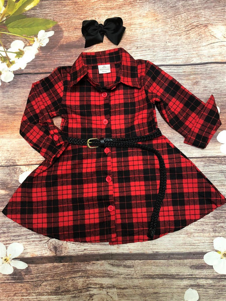 Red & Black Flannel Button-down Dress with Belt - My 4 Princesses LLC