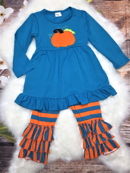 Girls Teal and Orange Striped Ruffle Pant Set - My 4 Princesses LLC