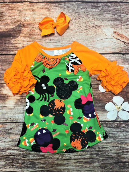 Halloween Mouse Ruffle Raglan Shirt - My 4 Princesses LLC