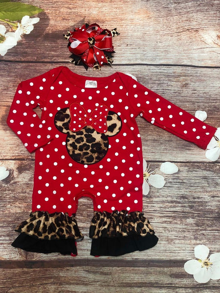 Red White Polka Dot Cheetah Minnie Romper - My 4 Princesses LLC