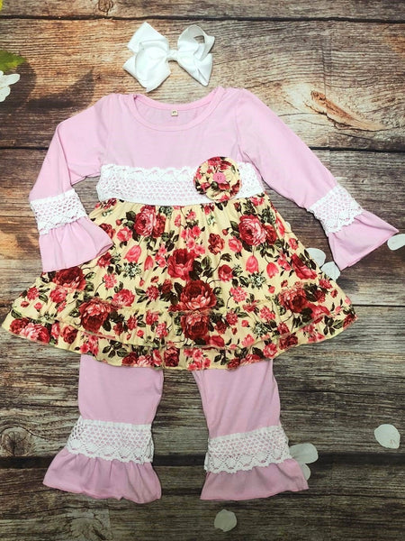 Rose Boutique Pant Set w/ Crochet Lace - My 4 Princesses LLC