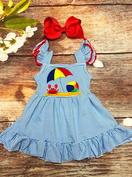 Day at the Beach Flutter Sleeve Dress - My 4 Princesses LLC