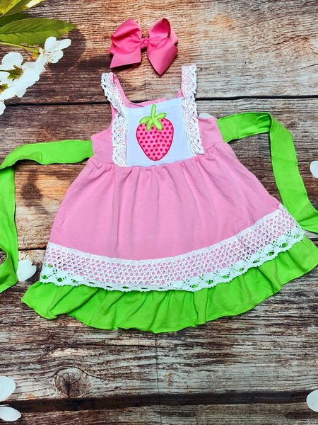 Girls Strawberry Dress with Crochet Lace - My 4 Princesses LLC