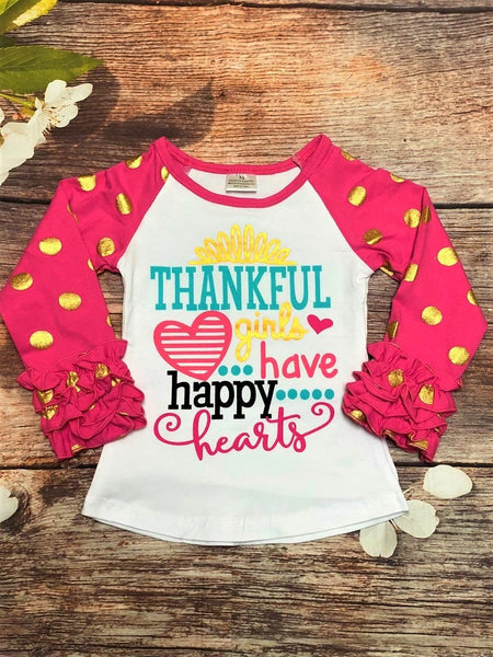 'Thankful Girls Have Happy Hearts' Pink & Gold Polk Dot Ruffle Raglan - My 4 Princesses LLC