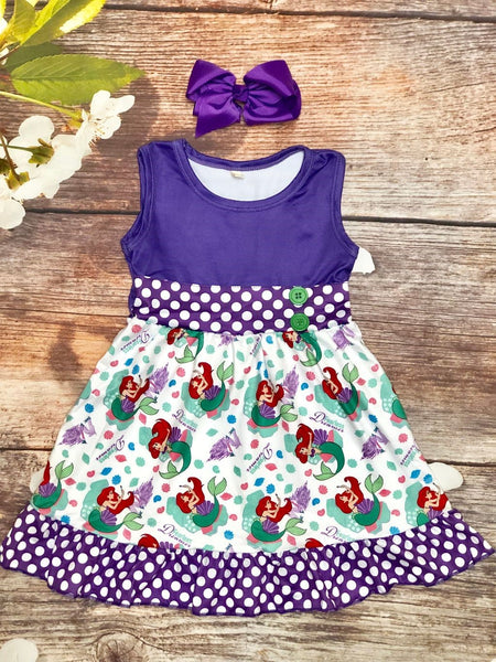 The Little Mermaid Polka Dot Skater Dress - My 4 Princesses LLC