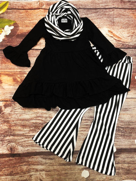Black & White Striped Boot Leg Pants & Scarf Set - My 4 Princesses LLC