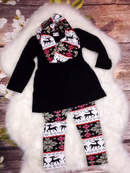 Black Tunic With Reindeer Leggings and Scarf Set-My 4 Princesses LLC