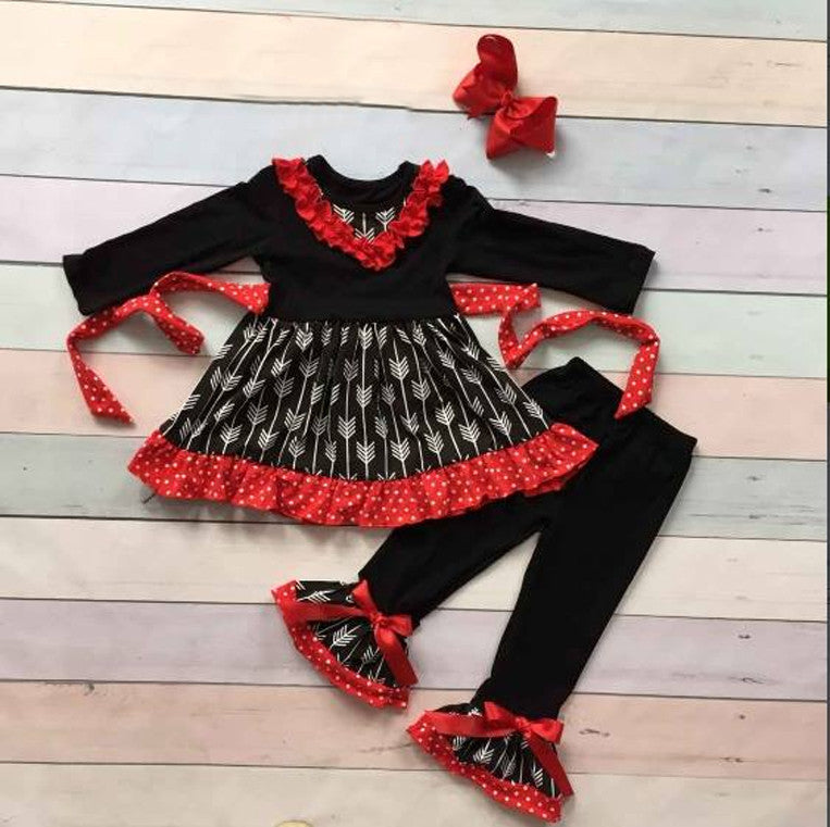 Girls Black and Red Ruffle Arrow Pant Set With Red Bow
