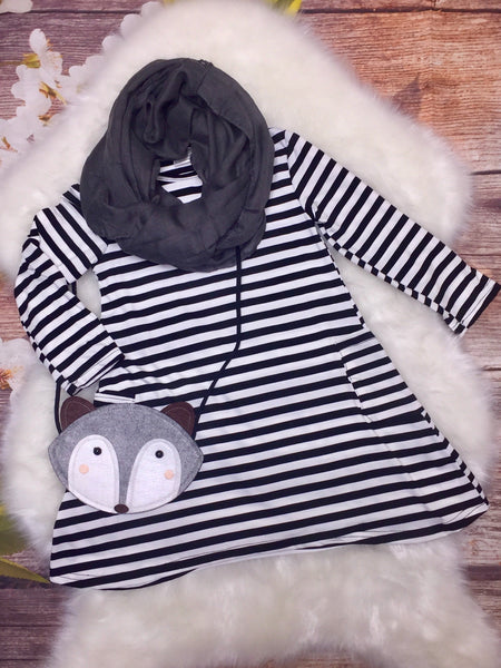 Black & White Striped Dress with Scarf & Fox Purse - My 4 Princesses LLC