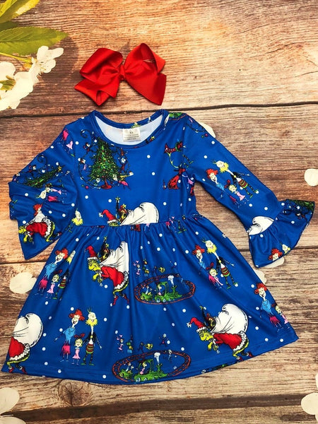 Blue Grinch in Whoville Bell Sleeve Dress - My 4 Princesses LLC