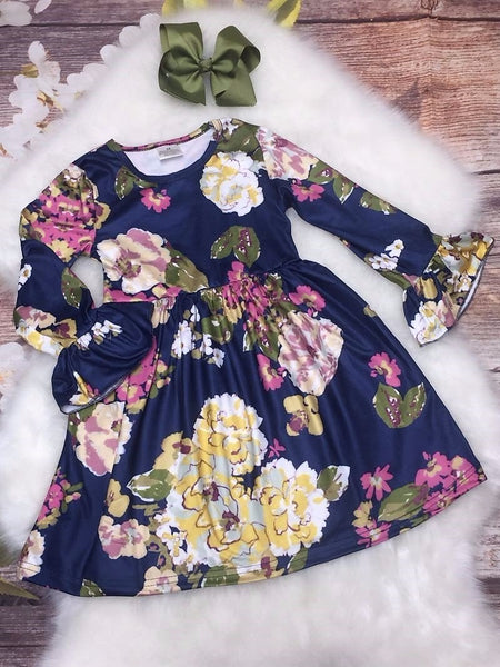 Beautiful Blue Floral Print Dress with Bell Sleeves and Olive Bow