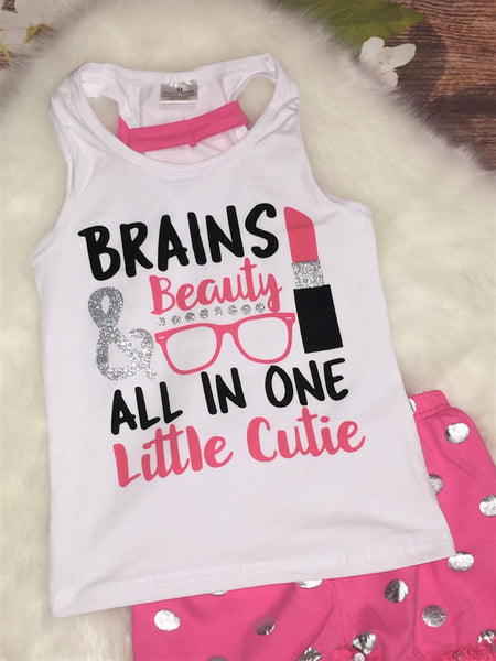 Brains & Beauty All in One Little Cutie Tank and Ruffle Shorts Set - My 4 Princesses LLC