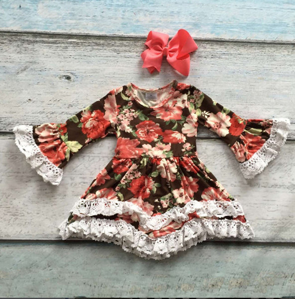 Victorian Style Chocolate Floral Print Dress with Lace Trim - My 4 Princesses LLC