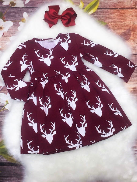 Burgundy Wine Deer Dress & Bow - My 4 Princesses LLC
