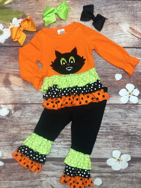 Black Cat Halloween Ruffle Pant Set - My 4 Princesses LLC
