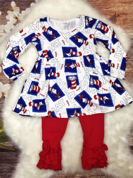 Cat in the Hat Ruffle Pant Set - My 4 Princesses LLC