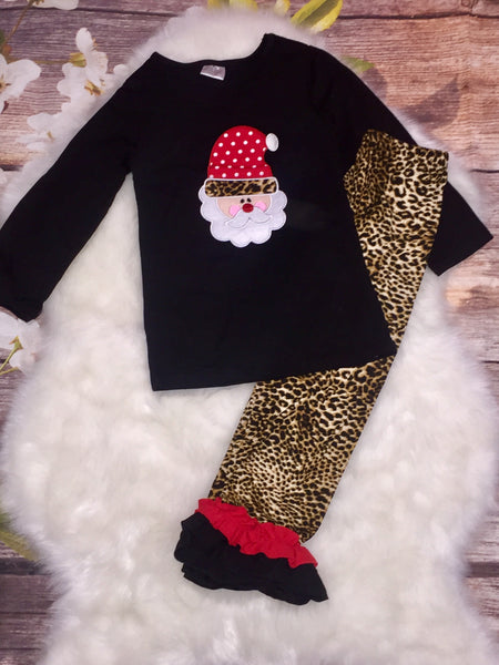 Cheetah Santa Claus Ruffle Pant Set - My 4 Princesses LLC