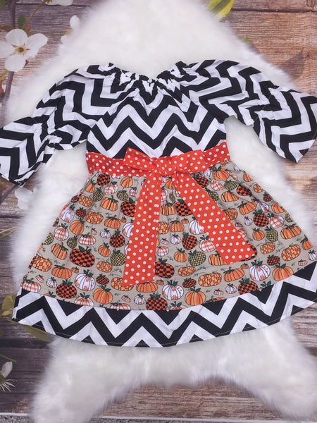 Chevron and Fall Print Pumpkin Peasant Dress - My 4 Princesses LLC