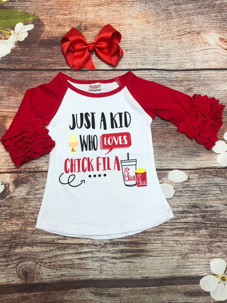 Chicken Lover Ruffle Red Raglan
