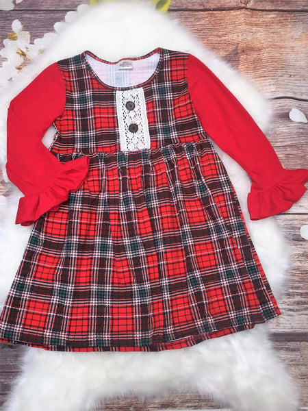 Girls Classic Red & Green Christmas Plaid Dress - My 4 Princesses LLC