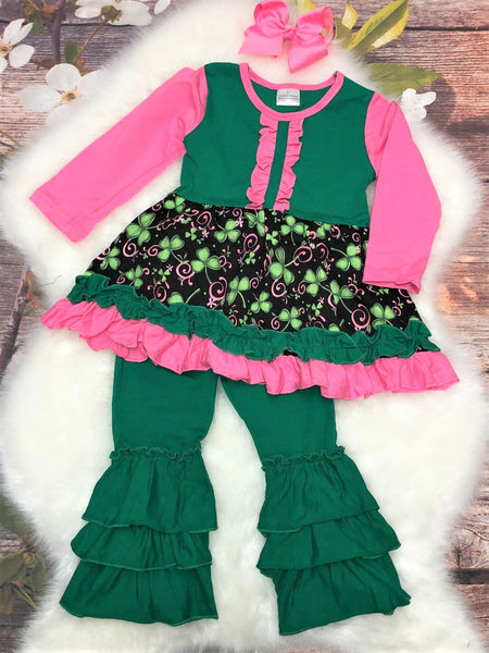 Irish Lassie Pink & Green Clover Ruffle Pant Set - My 4 Princesses LLC