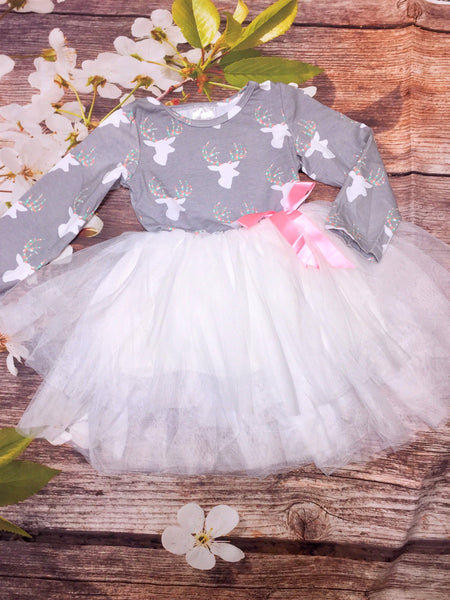 Deer Bodice Dress with Tulle Skirt - My 4 Princesses LLC