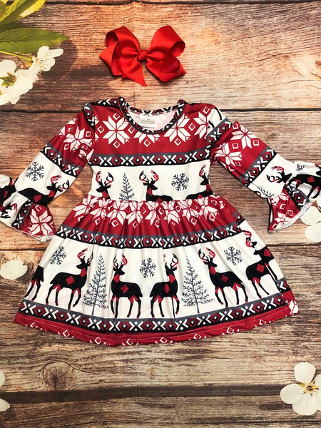 Deer & Snowflakes Bell Sleeve Dress - My 4 Princesses LLC