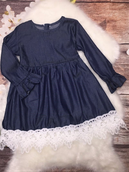 Girls Denim and Lace Dress
