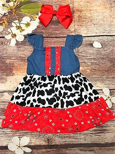 "Girls ""Udderly Adorable"" Denim Dress - My 4 Princesses LLC"
