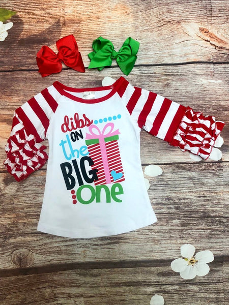 Peppermint Sleeve 'Dibs on the Big One' Ruffle Sleeve Raglan - My 4 Princesses LLC