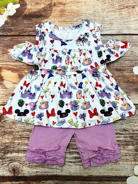 Magic Kingdom Cold Shoulder Ruffle Short Set - My 4 Princesses LLC