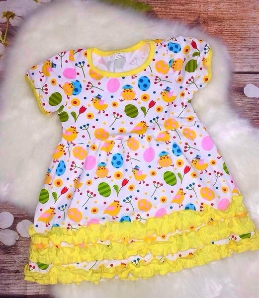 Girls Easter Chick and Eggs Ruffle Dress - My 4 Princesses LLC