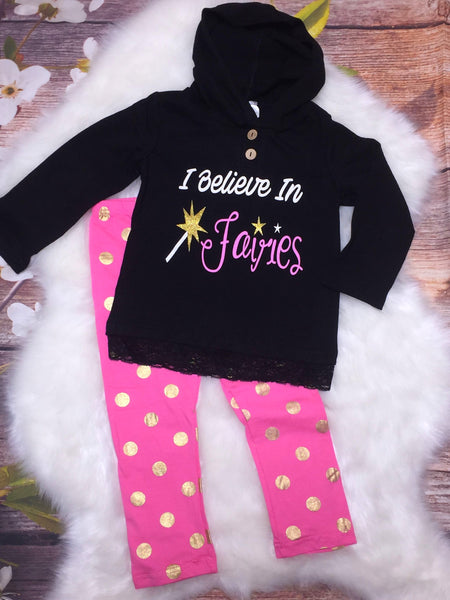 I Believe In Fairies Hooded Shirt and Pant Set SIZES 9/12 MONTHS & 3T