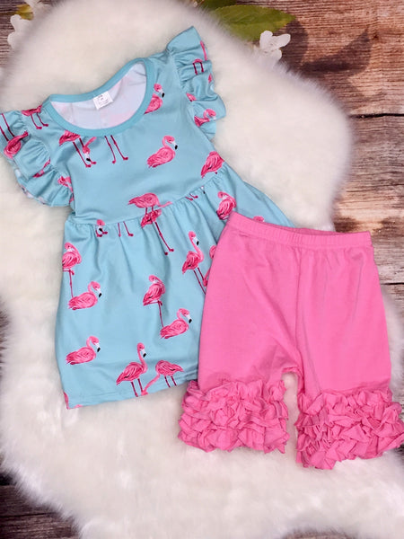 Pink Flamingo Flutter Sleeve Top and Ruffle Shorts Set - My 4 Princesses LLC