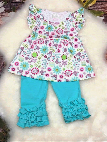 Flowers for Minnie Aqua Ruffle Capri Set