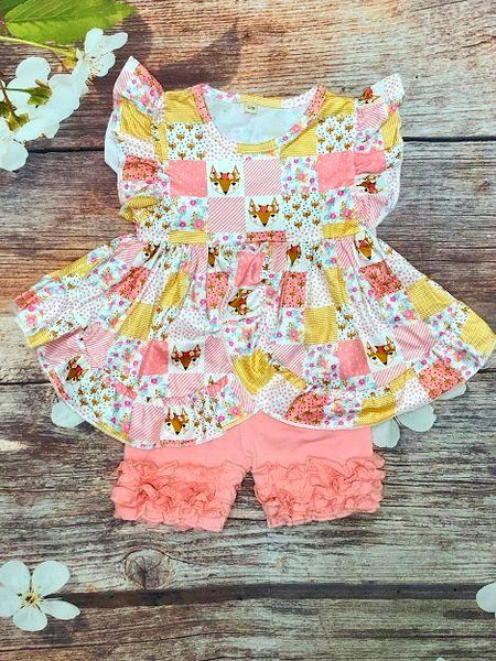 Foxy Flutter Sleeve Ruffle Short Set - My 4 Princesses LLC