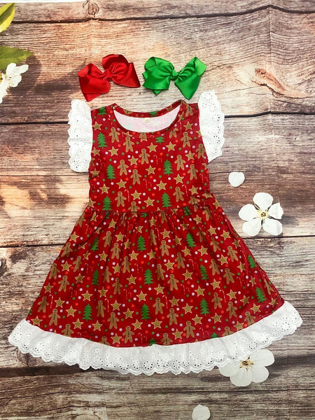 Christmas Gingerbread Dress with Eyelet Lace Trim - My 4 Princesses LLC