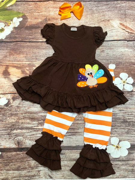 'Gladys the Turkey' Ruffle Thanksgiving Pant Set - My 4 Princesses LLC